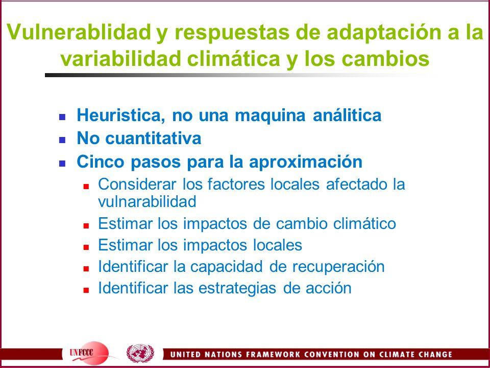 Vulnerablidad y respuestas de adaptación a la variabilidad climática y los cambios