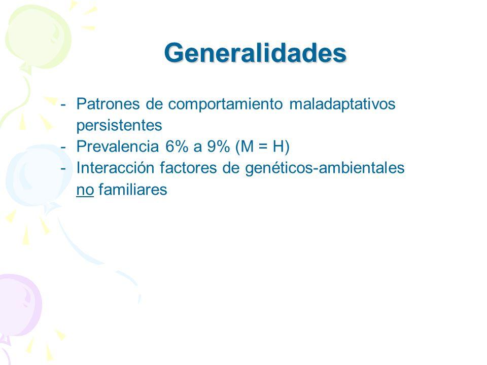 Generalidades Patrones de comportamiento maladaptativos persistentes