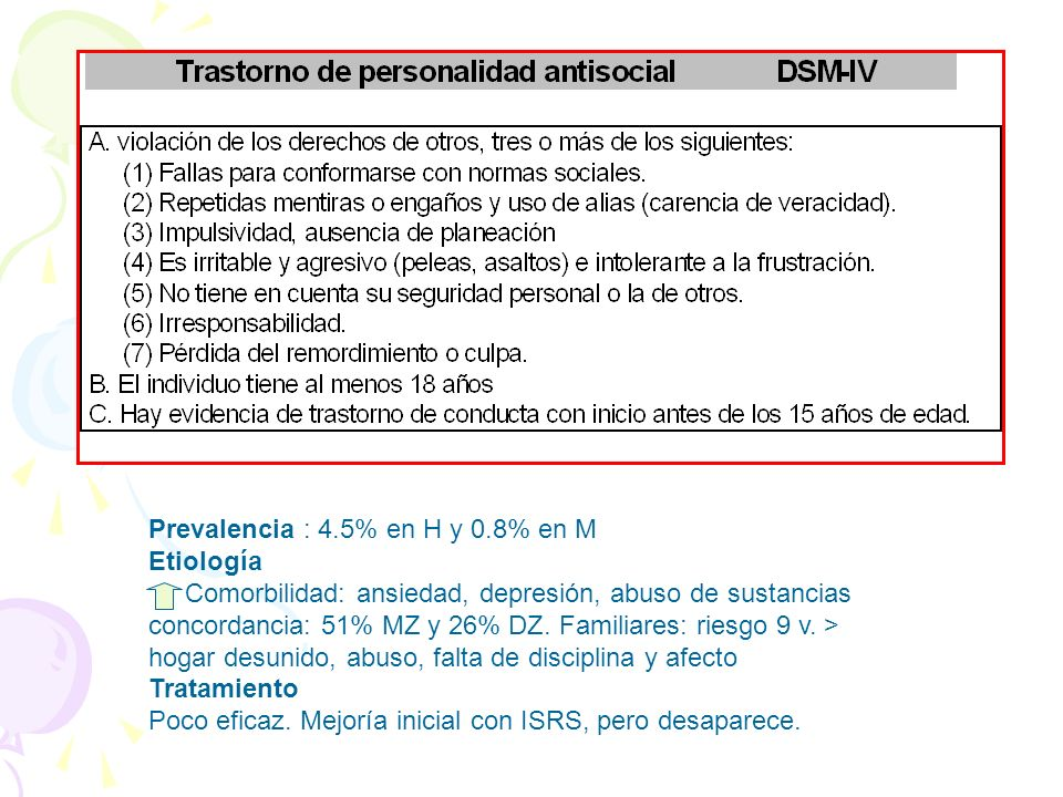 Prevalencia : 4.5% en H y 0.8% en M
