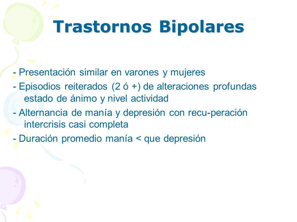 Trastornos Bipolares - Presentación similar en varones y mujeres
