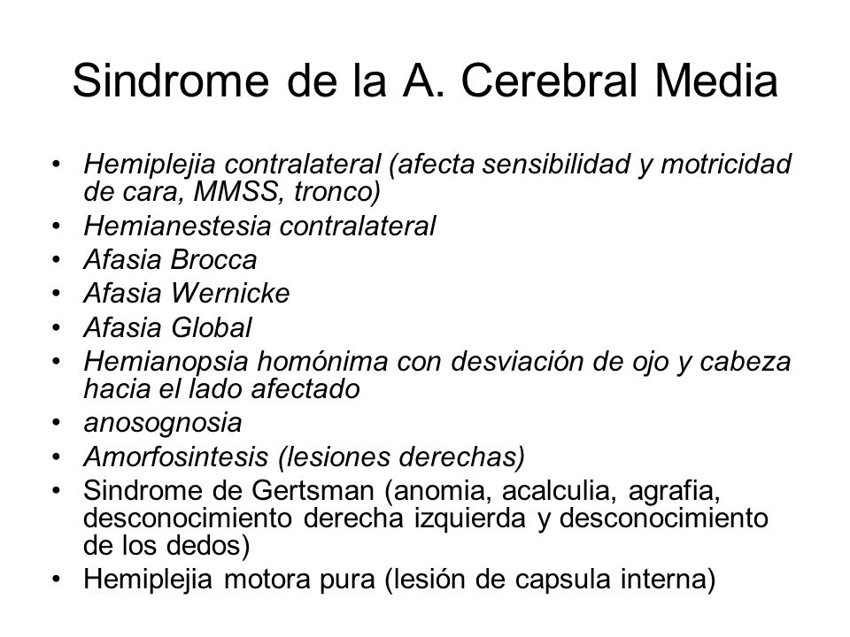Sindrome de la A. Cerebral Media