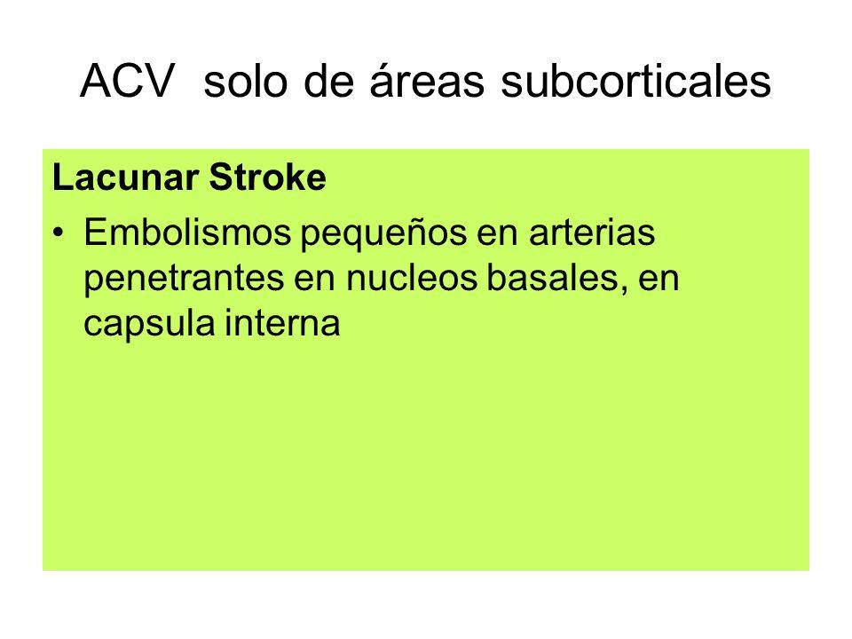 ACV solo de áreas subcorticales