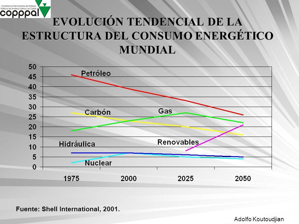 EVOLUCIÓN TENDENCIAL DE LA ESTRUCTURA DEL CONSUMO ENERGÉTICO MUNDIAL