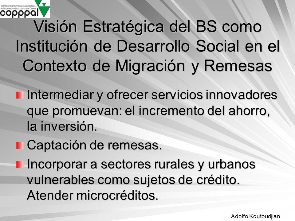Visión Estratégica del BS como Institución de Desarrollo Social en el Contexto de Migración y Remesas