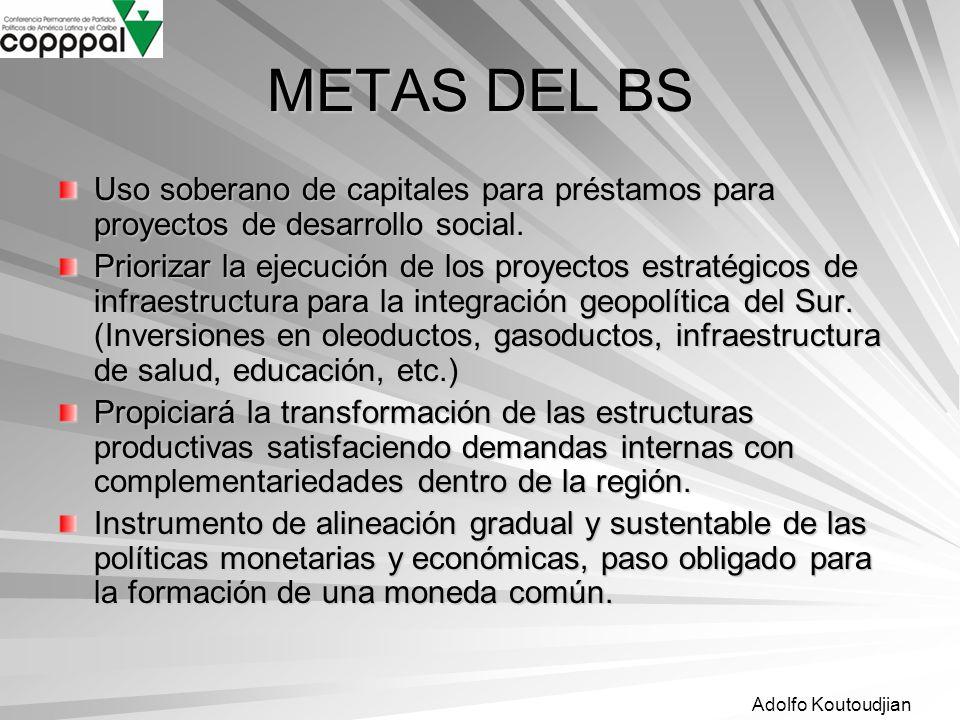 METAS DEL BS Uso soberano de capitales para préstamos para proyectos de desarrollo social.