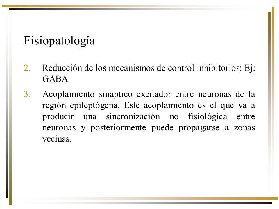 Fisiopatología Reducción de los mecanismos de control inhibitorios; Ej: GABA.
