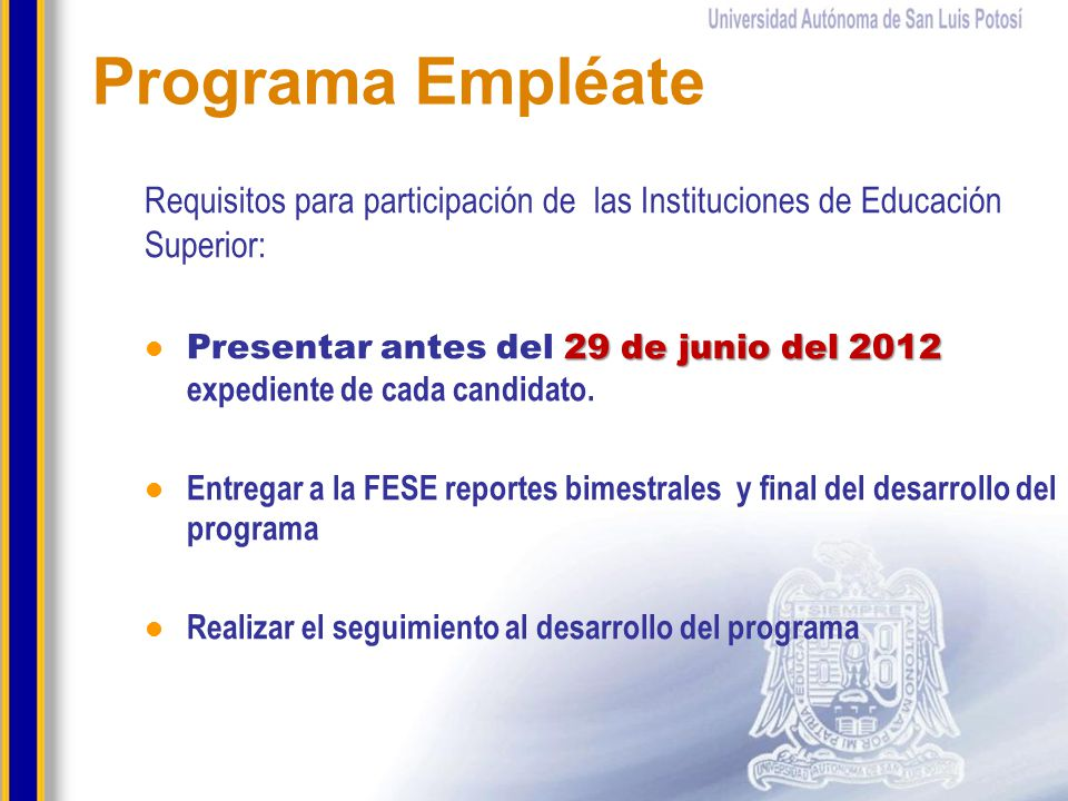 Programa Empléate Requisitos para participación de las Instituciones de Educación Superior: