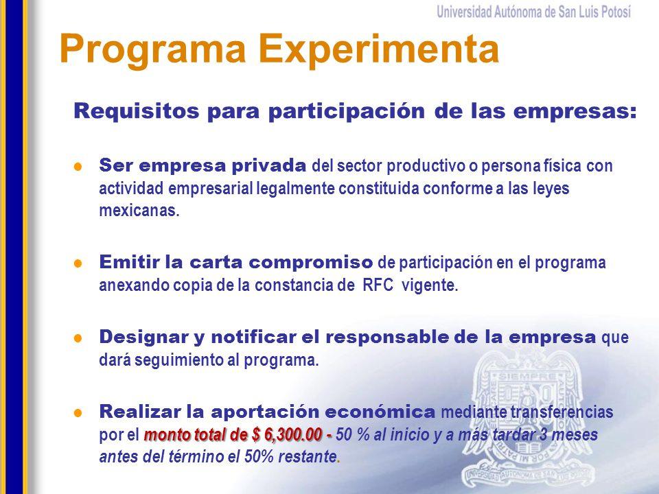 Programa Experimenta Requisitos para participación de las empresas: