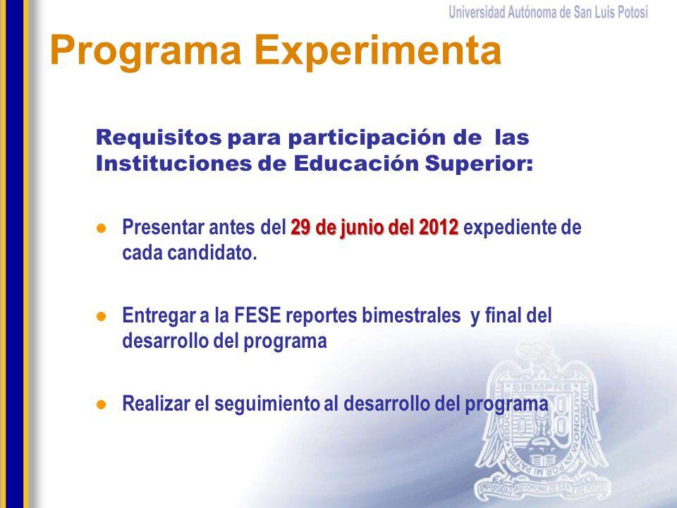 Requisitos para participación de las Instituciones de Educación Superior: