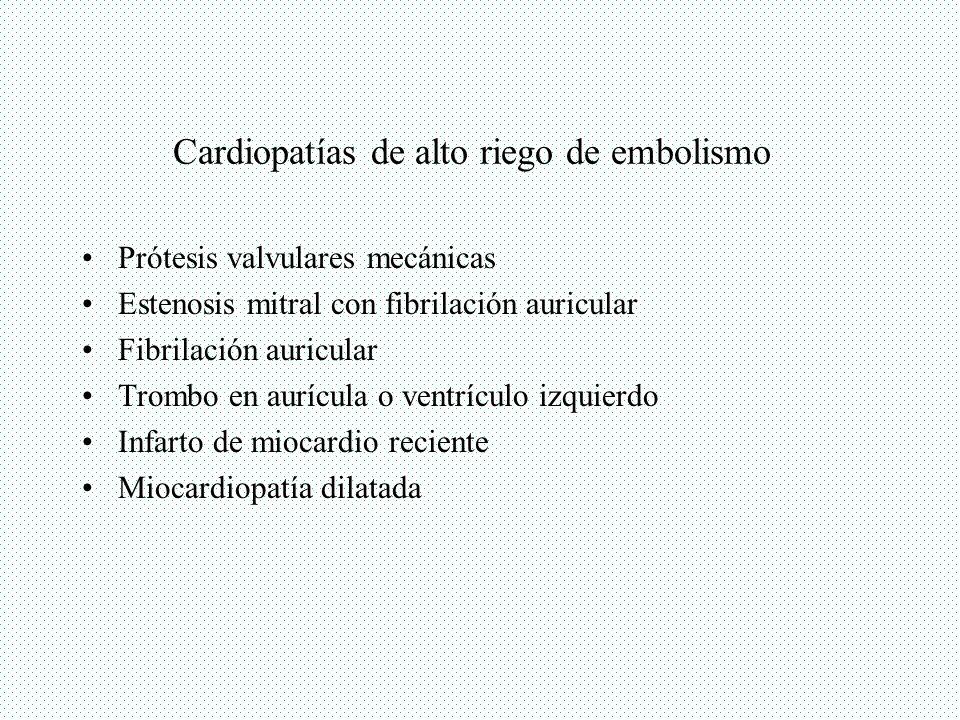 Cardiopatías de alto riego de embolismo
