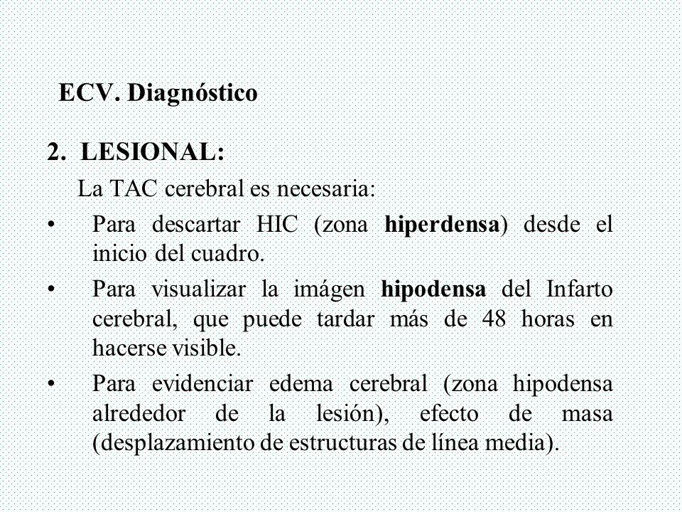 ECV. Diagnóstico 2. LESIONAL: La TAC cerebral es necesaria: