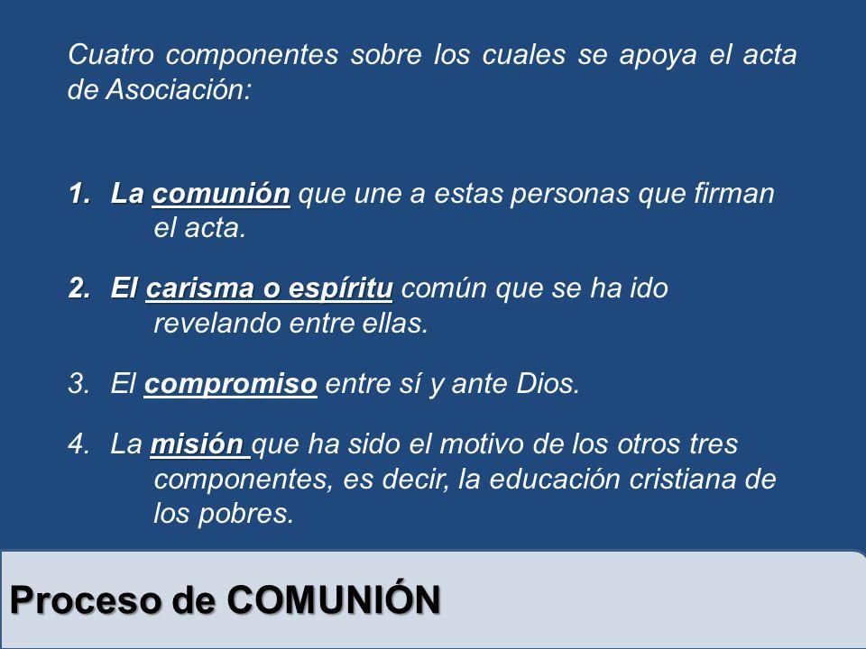 Cuatro componentes sobre los cuales se apoya el acta de Asociación: