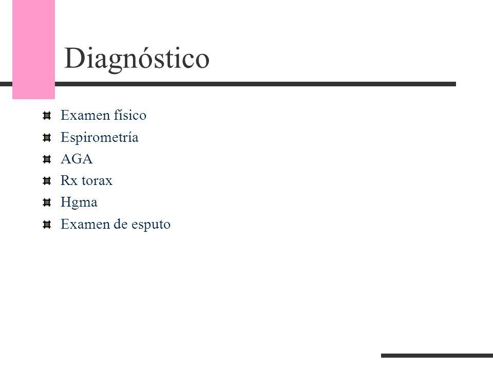 Diagnóstico Examen físico Espirometría AGA Rx torax Hgma