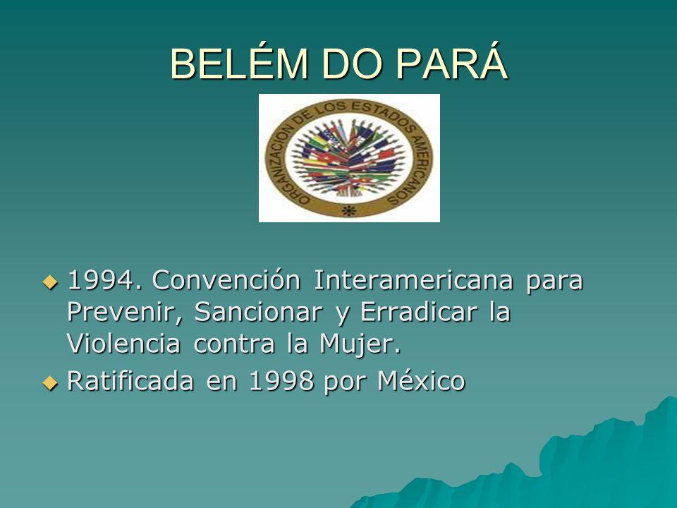BELÉM DO PARÁ 1994. Convención Interamericana para Prevenir, Sancionar y Erradicar la Violencia contra la Mujer.