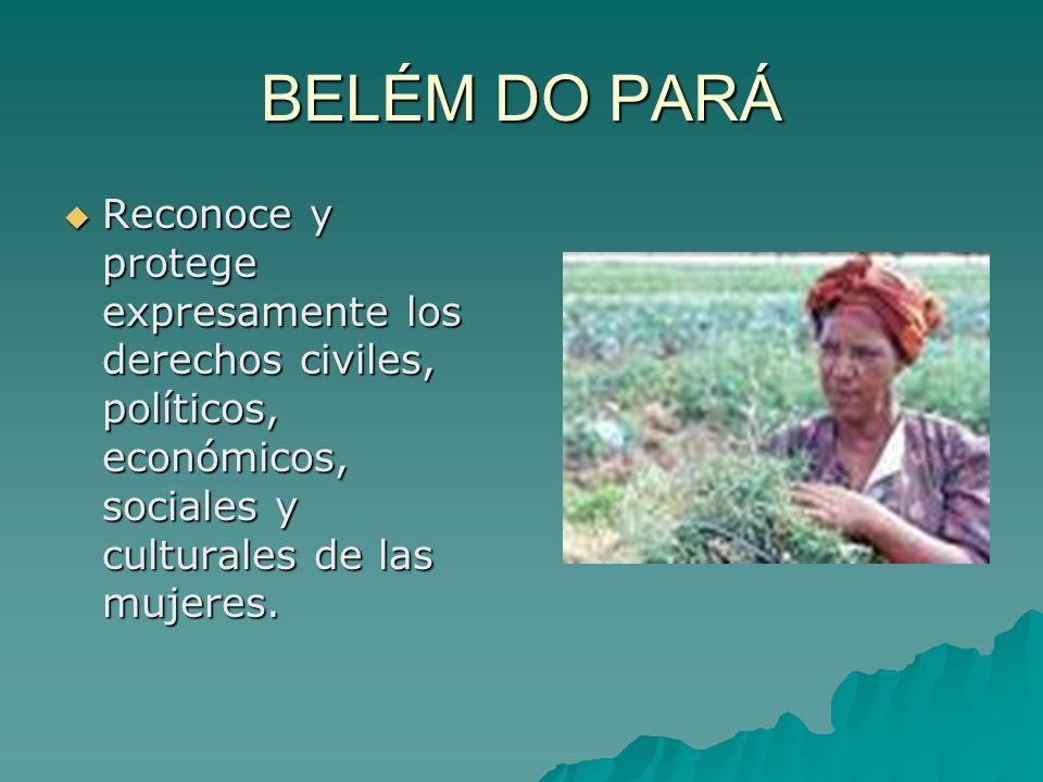 BELÉM DO PARÁ Reconoce y protege expresamente los derechos civiles, políticos, económicos, sociales y culturales de las mujeres.