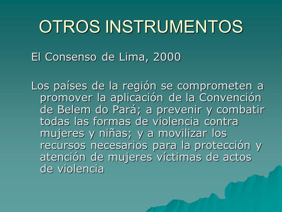 OTROS INSTRUMENTOS El Consenso de Lima, 2000