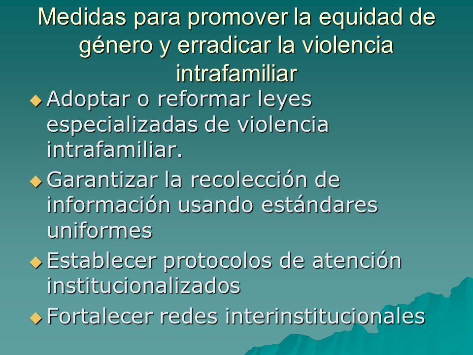 Medidas para promover la equidad de género y erradicar la violencia intrafamiliar