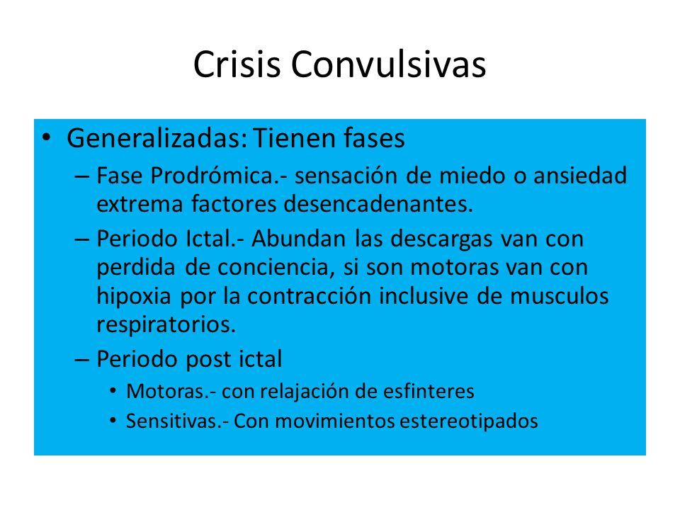 Crisis Convulsivas Generalizadas: Tienen fases