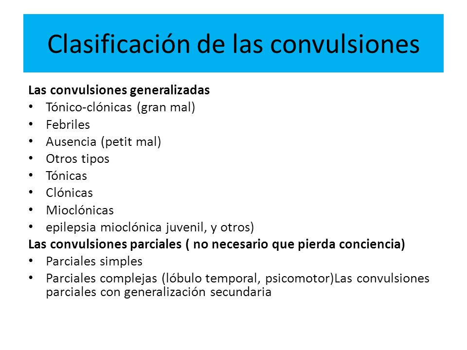 Clasificación de las convulsiones
