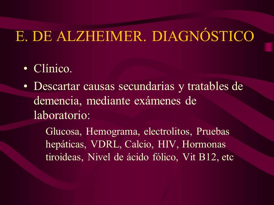 E. DE ALZHEIMER. DIAGNÓSTICO