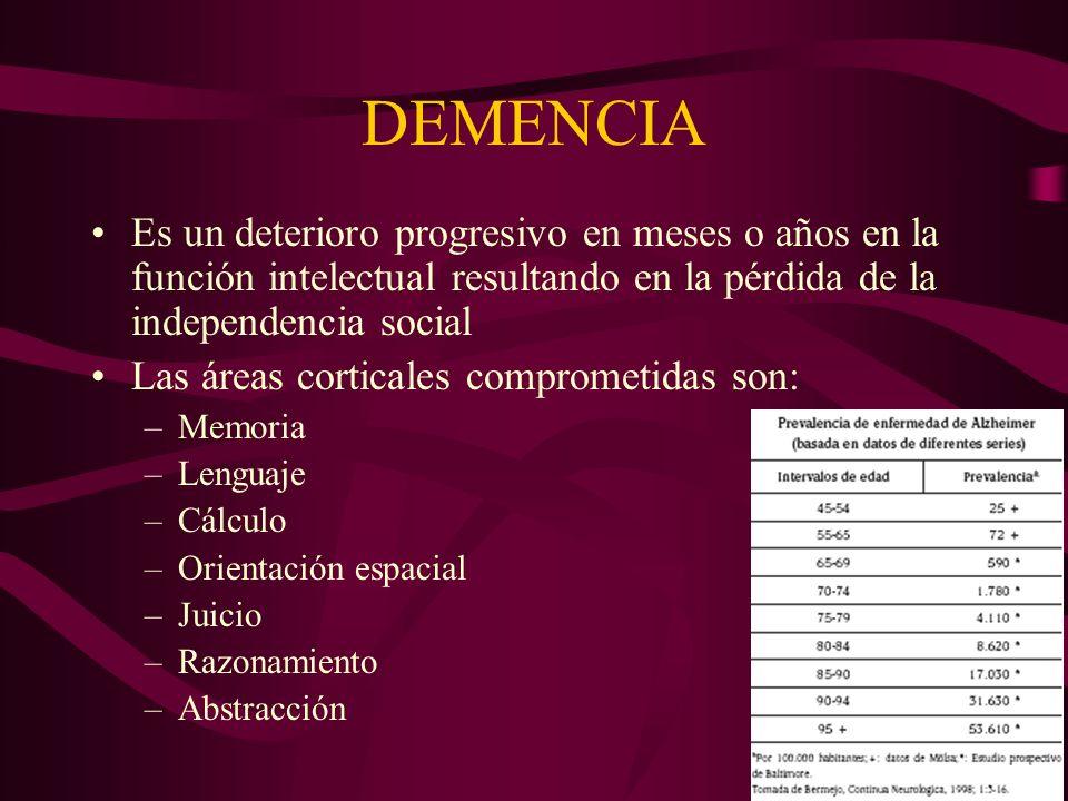 DEMENCIA Es un deterioro progresivo en meses o años en la función intelectual resultando en la pérdida de la independencia social.
