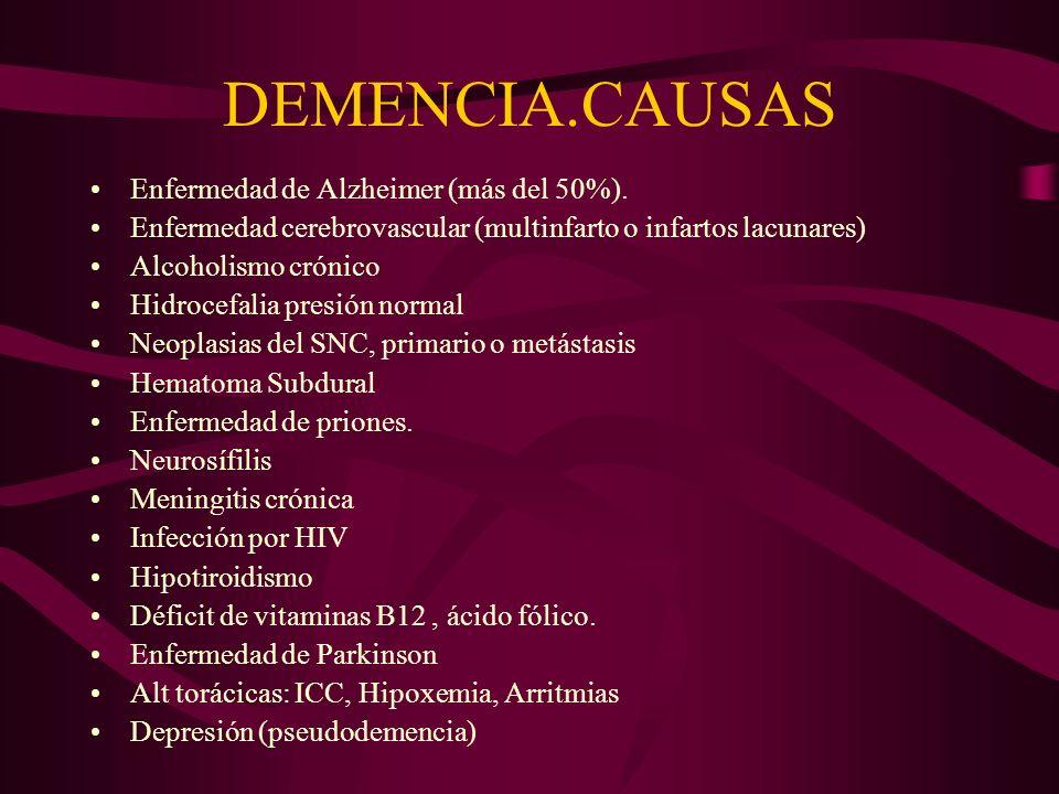 DEMENCIA.CAUSAS Enfermedad de Alzheimer (más del 50%).