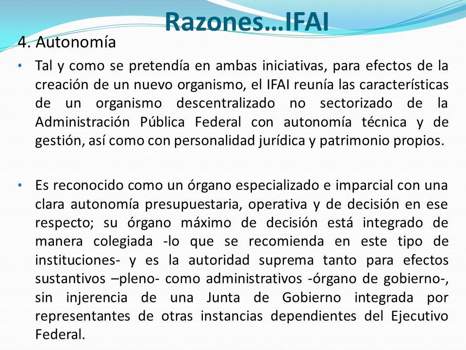 Razones…IFAI 4. Autonomía