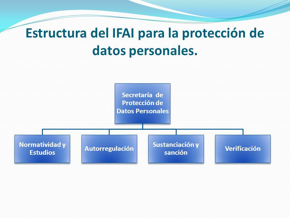 Estructura del IFAI para la protección de datos personales.