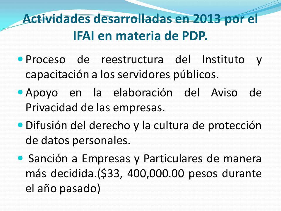 Actividades desarrolladas en 2013 por el IFAI en materia de PDP.
