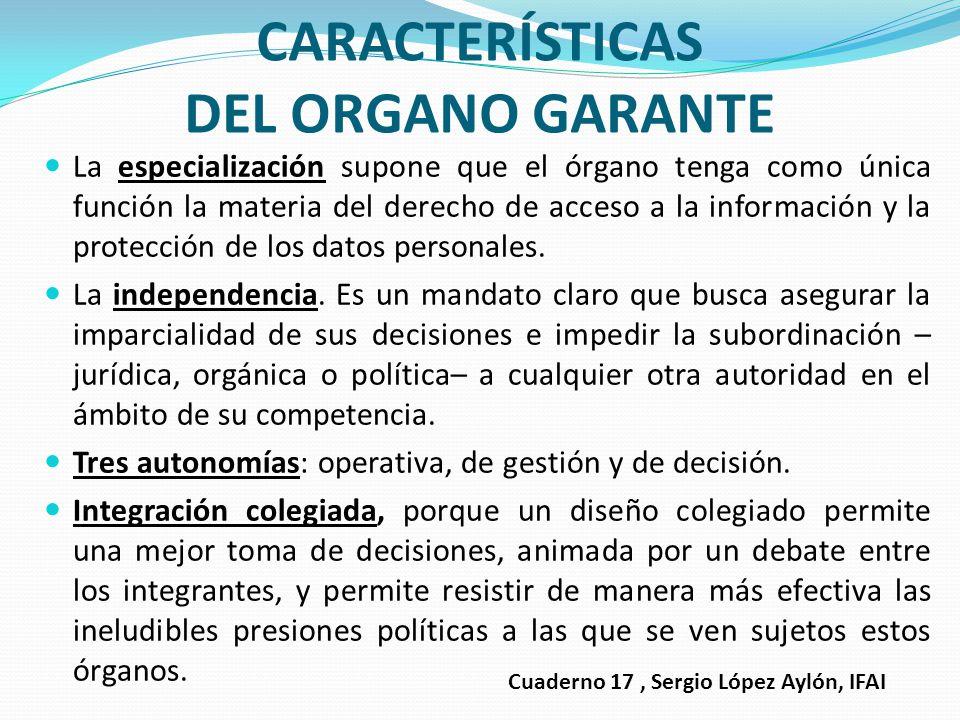 CARACTERÍSTICAS DEL ORGANO GARANTE
