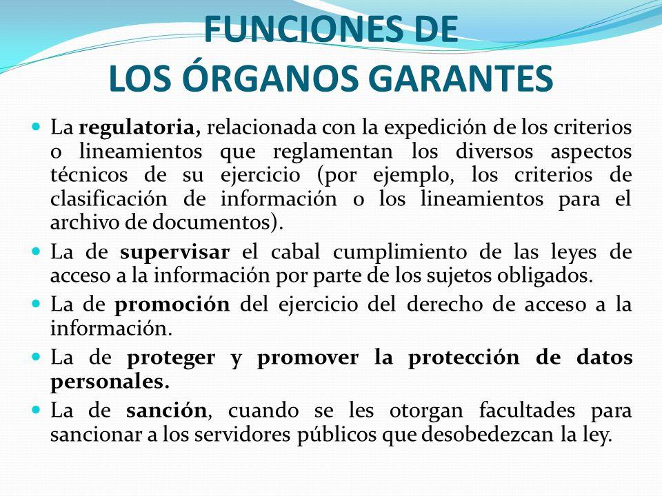 FUNCIONES DE LOS ÓRGANOS GARANTES