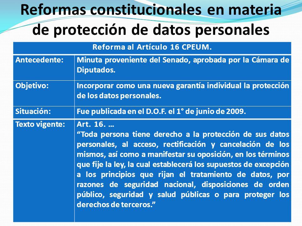 Reformas constitucionales en materia de protección de datos personales