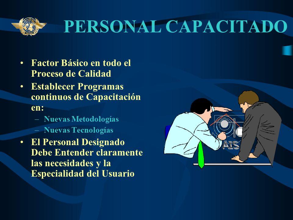 PERSONAL CAPACITADO Factor Básico en todo el Proceso de Calidad