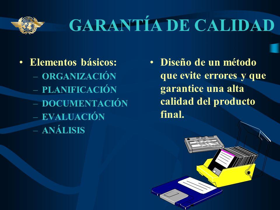 GARANTÍA DE CALIDAD Elementos básicos:
