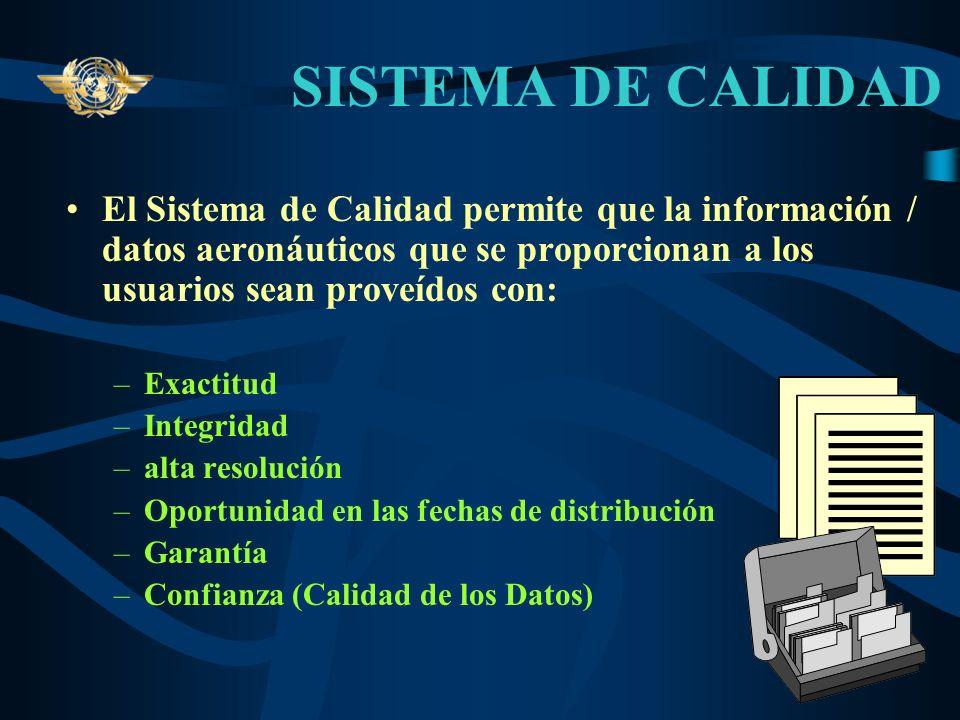 SISTEMA DE CALIDADEl Sistema de Calidad permite que la información / datos aeronáuticos que se proporcionan a los usuarios sean proveídos con: