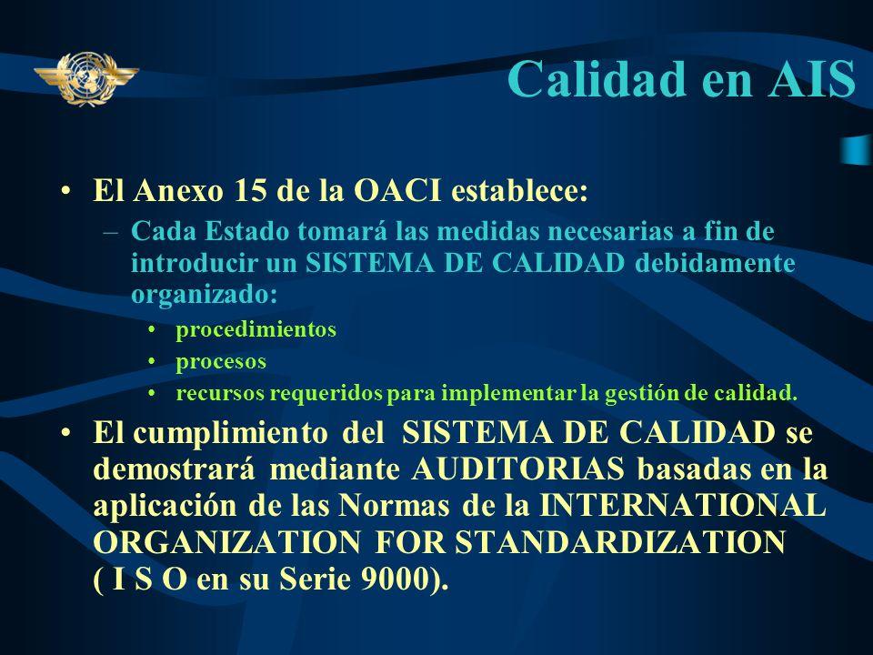 Calidad en AIS El Anexo 15 de la OACI establece: