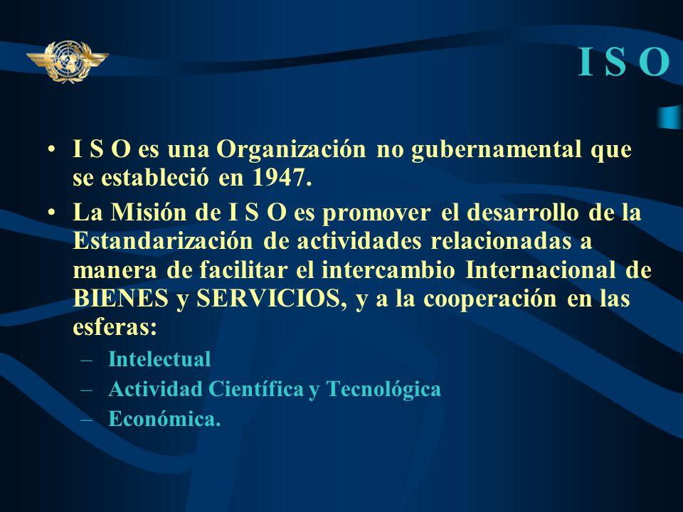 I S OI S O es una Organización no gubernamental que se estableció en 1947.