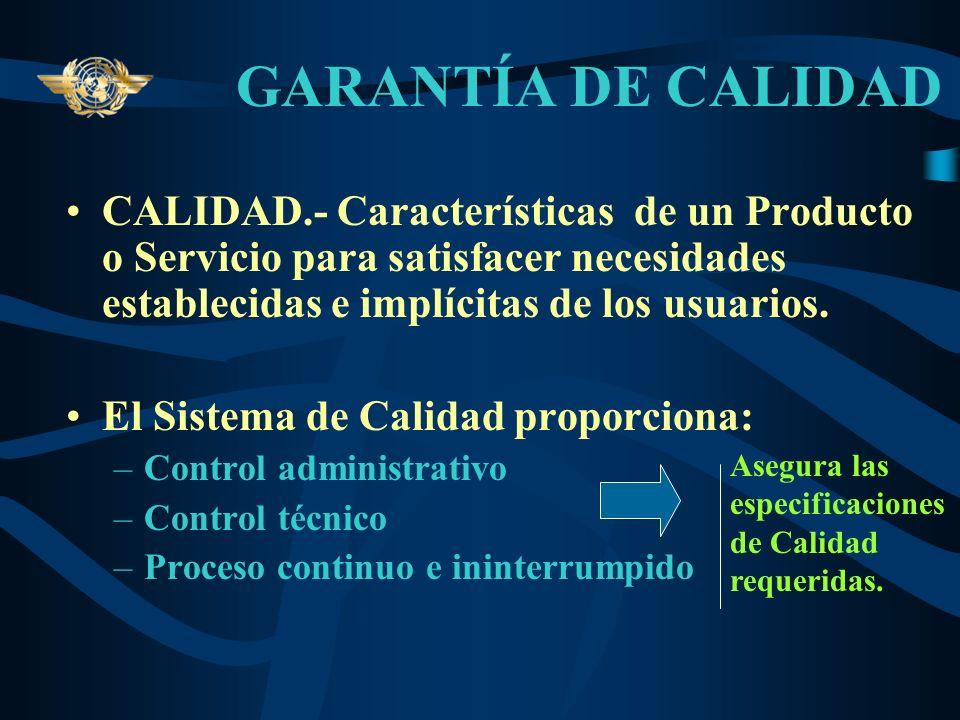 GARANTÍA DE CALIDADCALIDAD.- Características de un Producto o Servicio para satisfacer necesidades establecidas e implícitas de los usuarios.