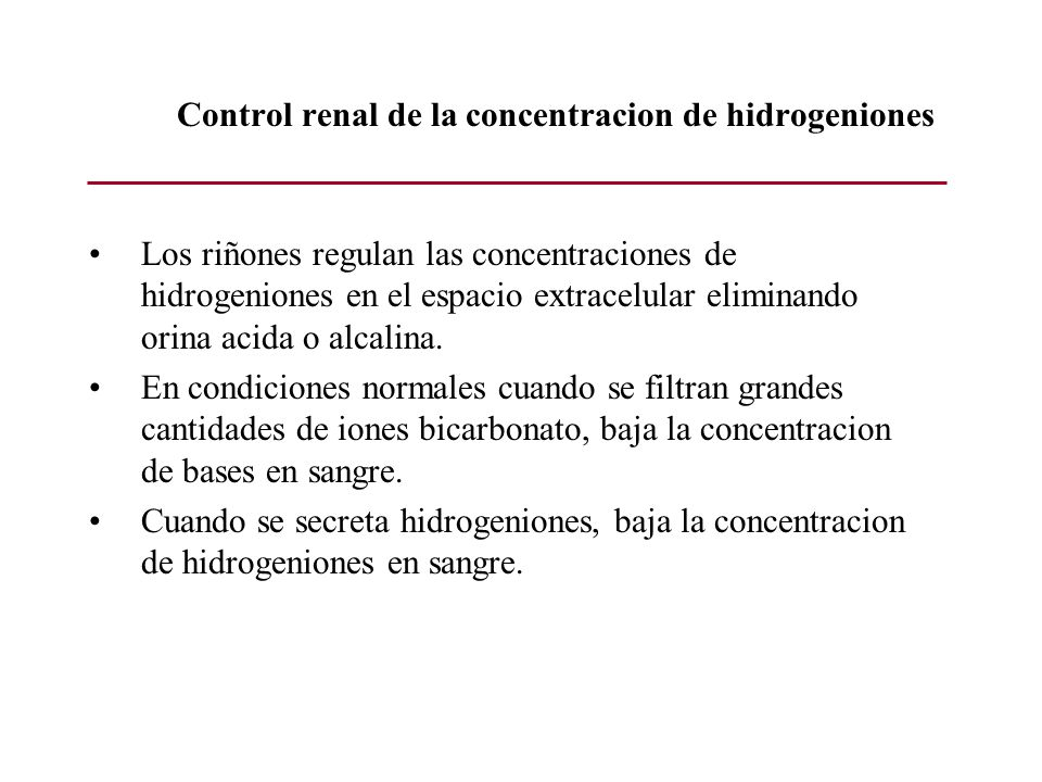 Control renal de la concentracion de hidrogeniones