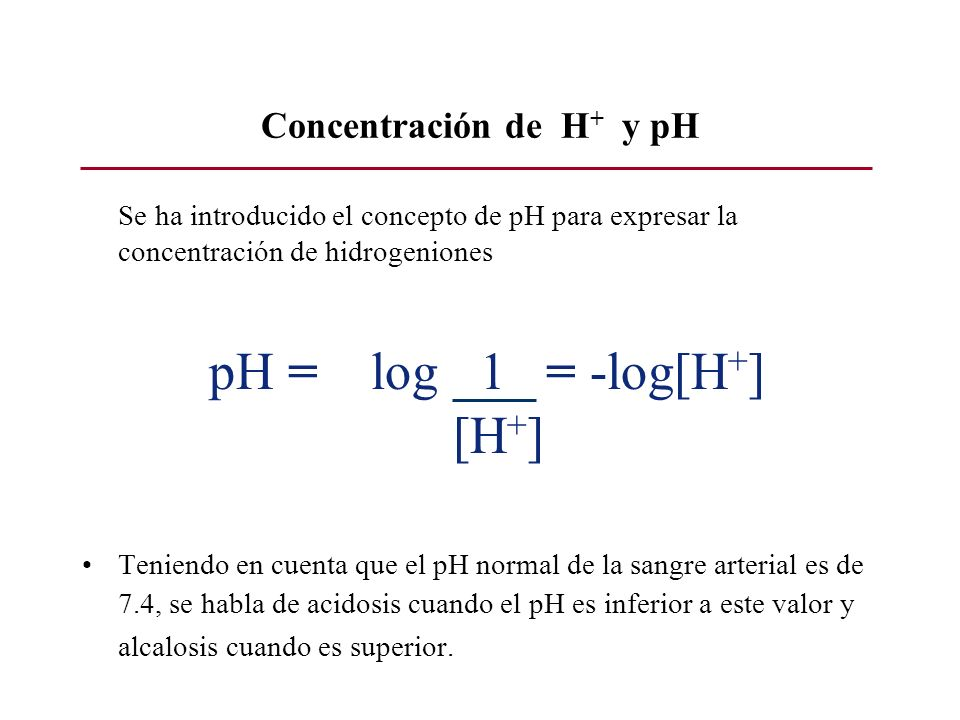 Concentración de H+ y pH