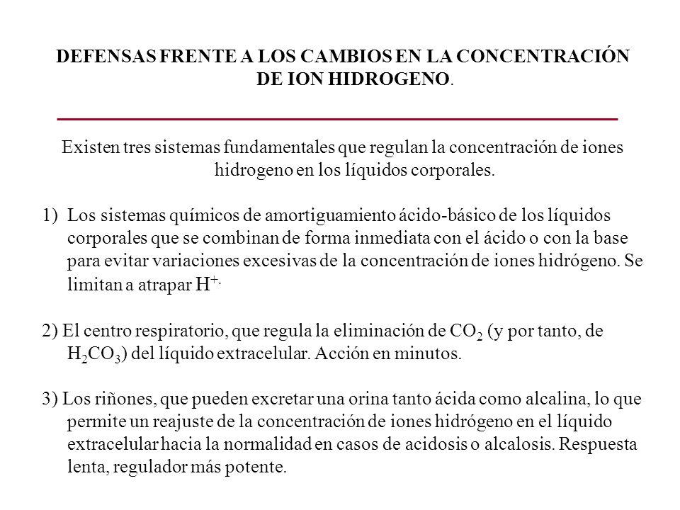 DEFENSAS FRENTE A LOS CAMBIOS EN LA CONCENTRACIÓN DE ION HIDROGENO.