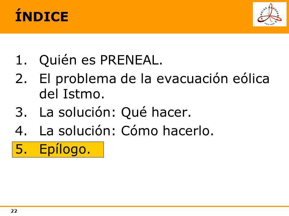 ÍNDICE Quién es PRENEAL. El problema de la evacuación eólica del Istmo. La solución: Qué hacer. La solución: Cómo hacerlo.