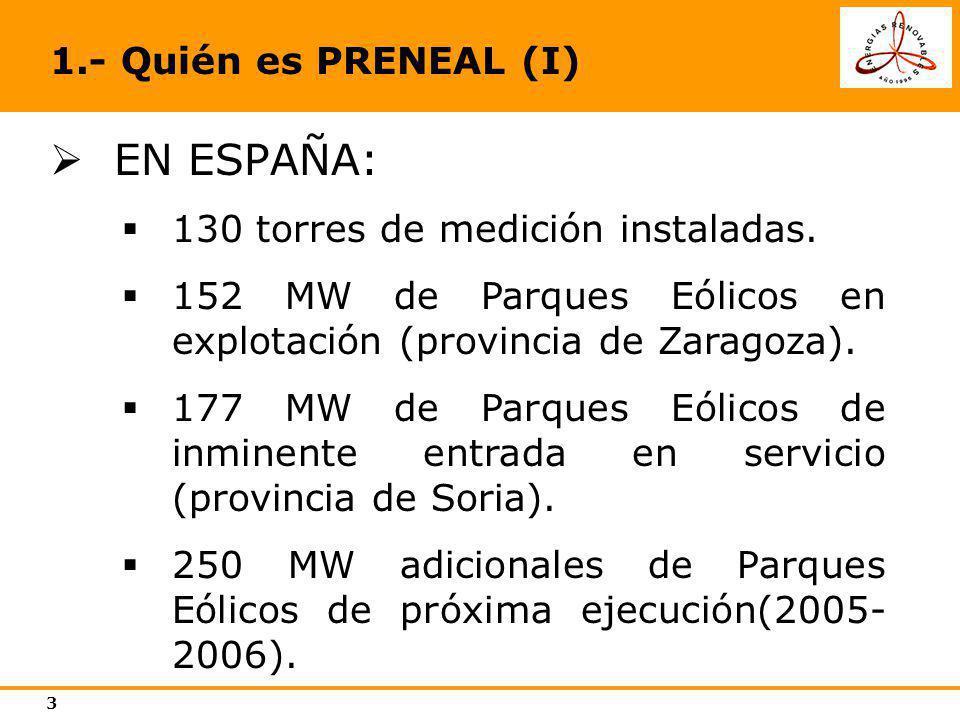 EN ESPAÑA: 1.- Quién es PRENEAL (I) 130 torres de medición instaladas.