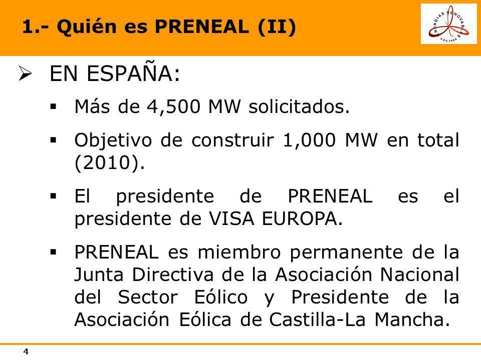 EN ESPAÑA: 1.- Quién es PRENEAL (II) Más de 4,500 MW solicitados.