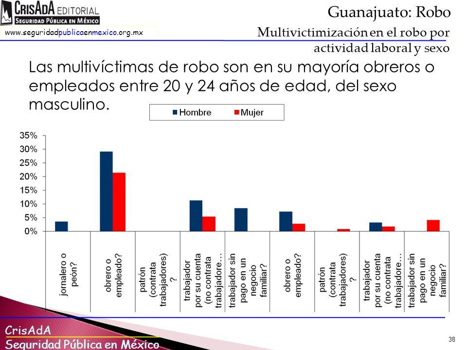 Guanajuato: Robo Multivictimización en el robo por actividad laboral y sexo.