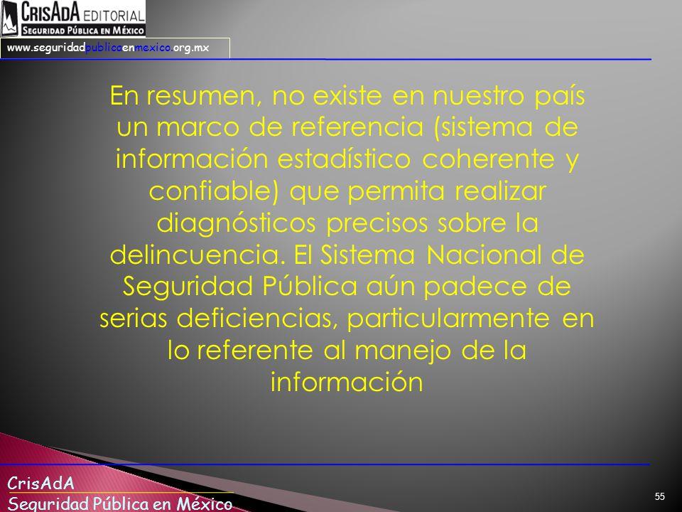 En resumen, no existe en nuestro país un marco de referencia (sistema de información estadístico coherente y confiable) que permita realizar diagnósticos precisos sobre la delincuencia.