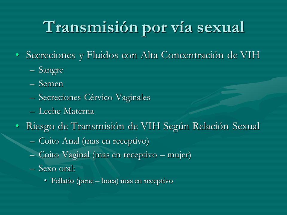 Transmisión por vía sexual