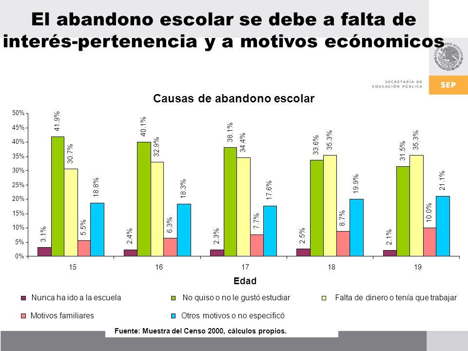El abandono escolar se debe a falta de interés-pertenencia y a motivos ecónomicos