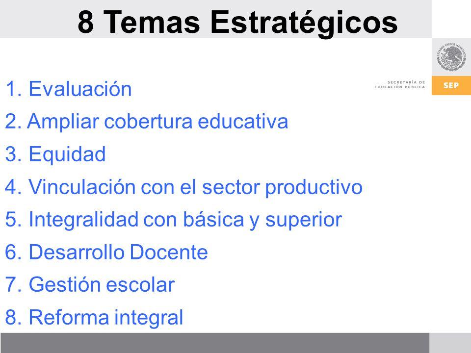 8 Temas Estratégicos Evaluación Ampliar cobertura educativa Equidad