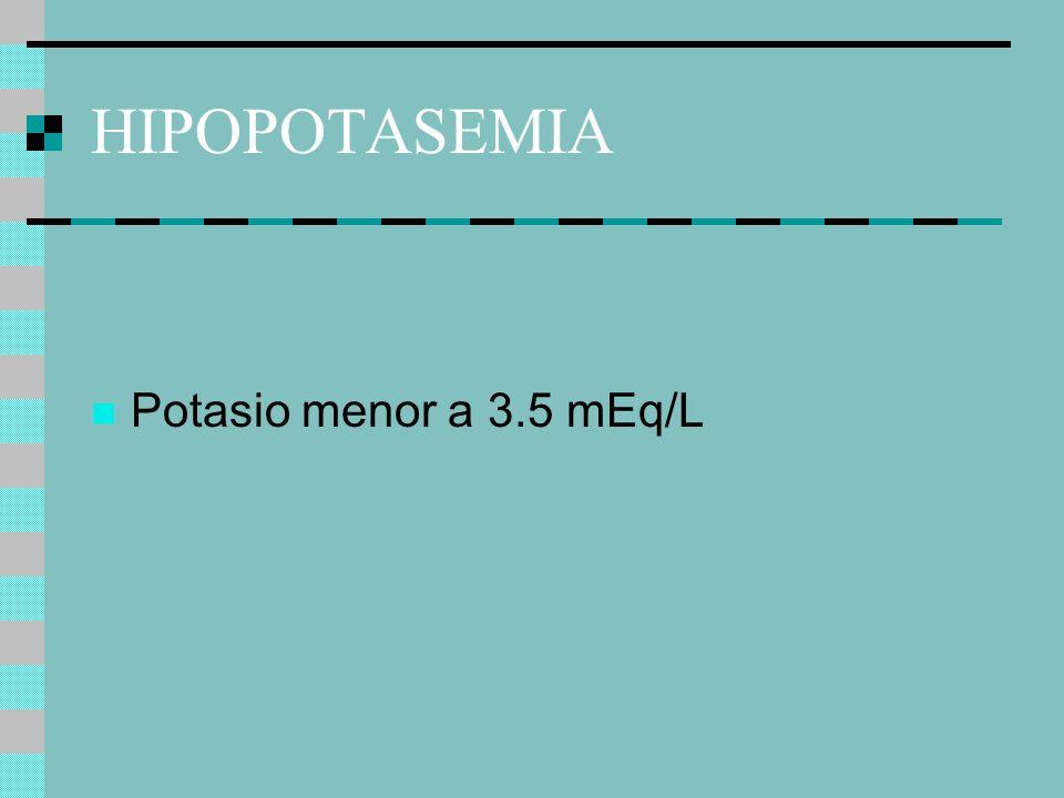 HIPOPOTASEMIA Potasio menor a 3.5 mEq/L